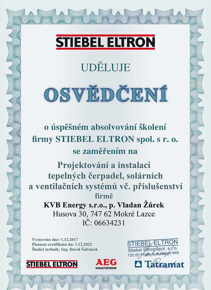 Certifikát - KVB Energy s.r.o.